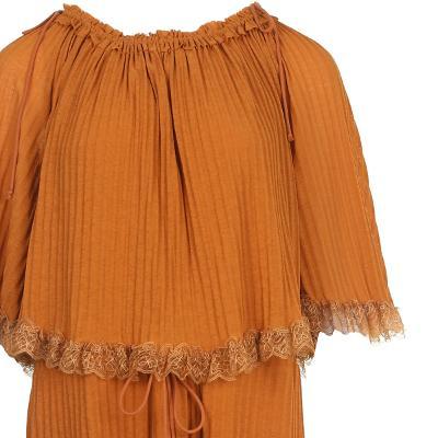 lace detail pleats texture dress